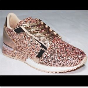 Shoes - Rose gold sparkly tennis shoes